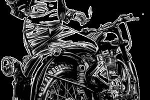 Photo d'une jeune femme à moto